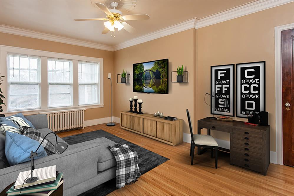 Sunlit living room at Barrington Apartments