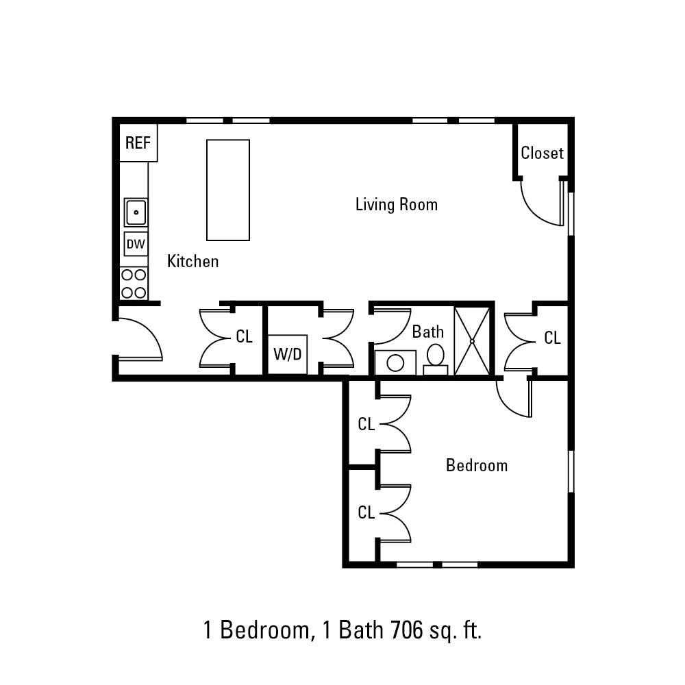 1 Bedroom, 1 Bath 706 sq. ft. apartment in Canandaigua, NY