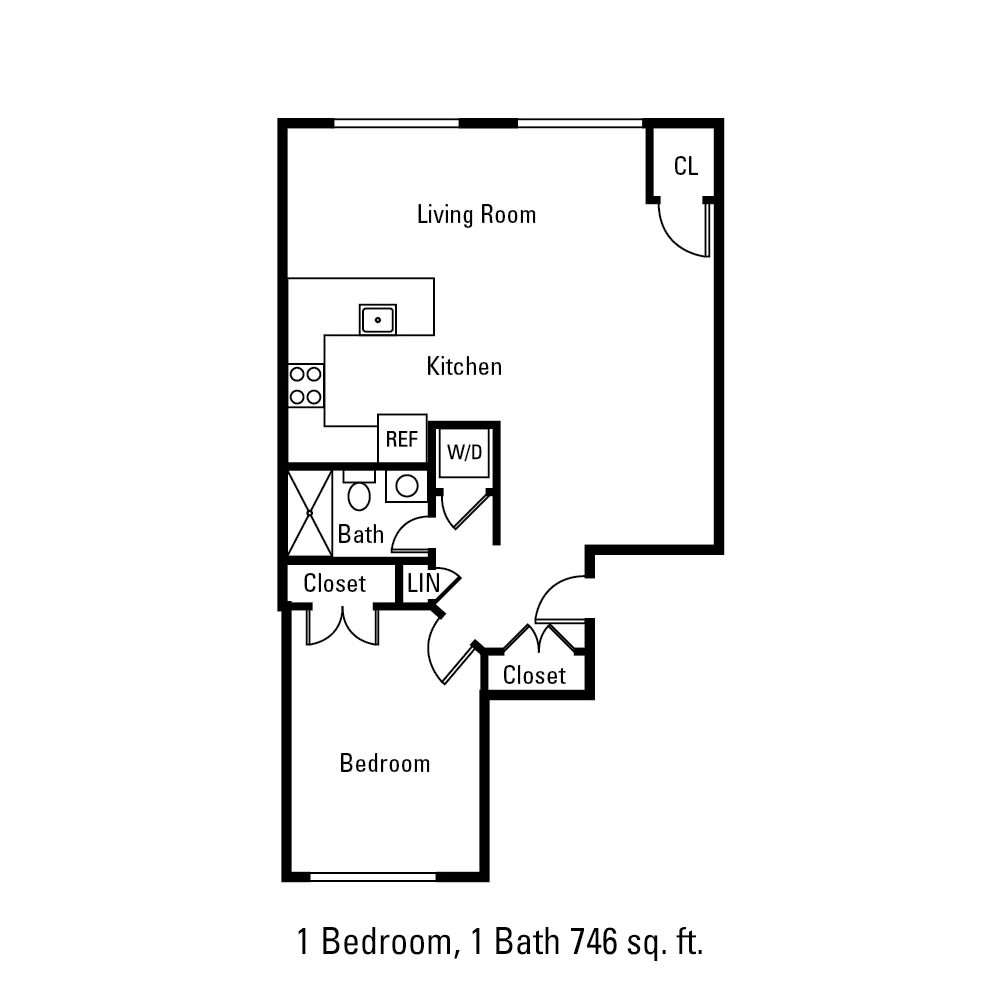 1 Bedroom, 1 Bath 746 sq. ft. apartment in Canandaigua, NY