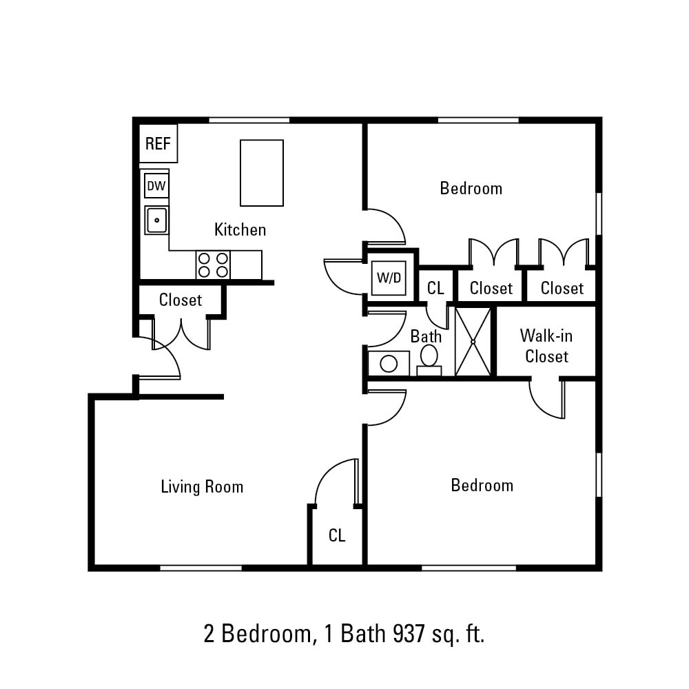 2 Bedroom, 1 Bath 937 sq. ft. apartment in Canandaigua, NY