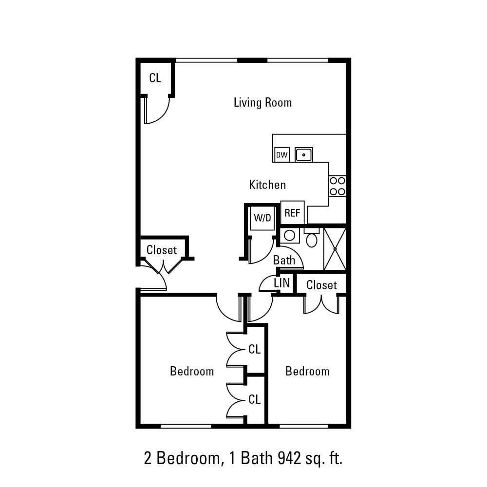 2 Bedroom, 1 Bath 942 sq. ft. apartment in Canandaigua, NY