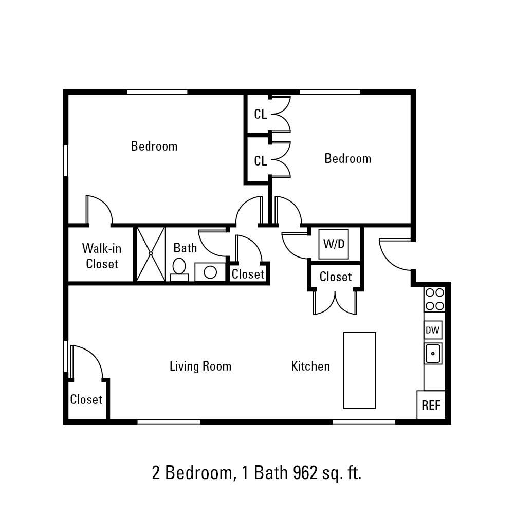2 Bedroom, 1 Bath 962 sq. ft. apartment in Canandaigua, NY