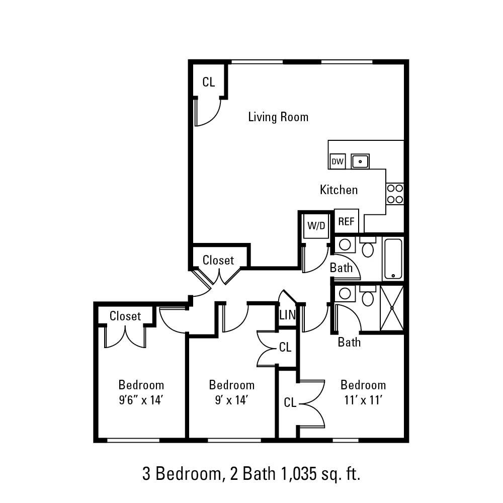 3 Bedroom, 2 Bath 1035 sq. ft. apartment in Canandaigua, NY