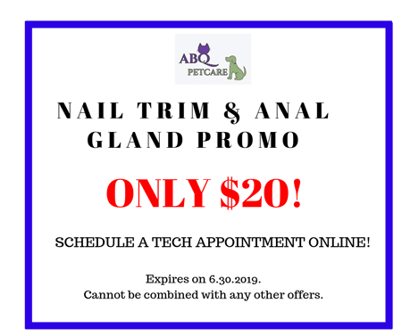 Nail trim and anal gland promo