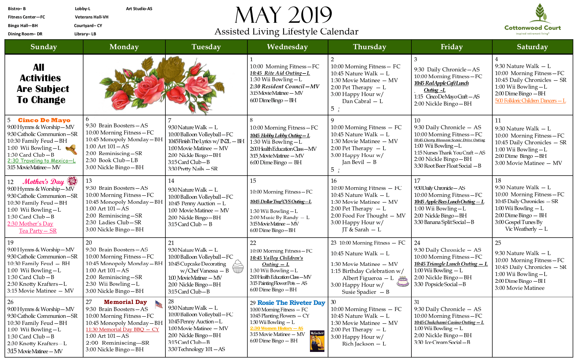 Placeholder calendar for Westmont Village in Riverside, California