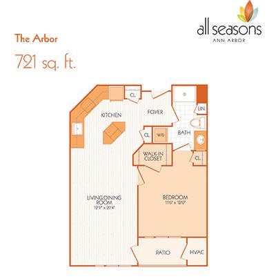 The Arbor floor plan at All Seasons Ann Arbor in Ann Arbor, Michigan