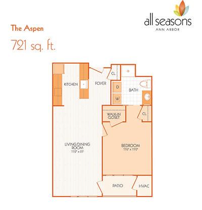 The Aspen floor plan at All Seasons Ann Arbor in Ann Arbor, Michigan
