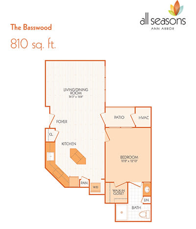 The Basswood floor plan at All Seasons Ann Arbor in Ann Arbor, Michigan