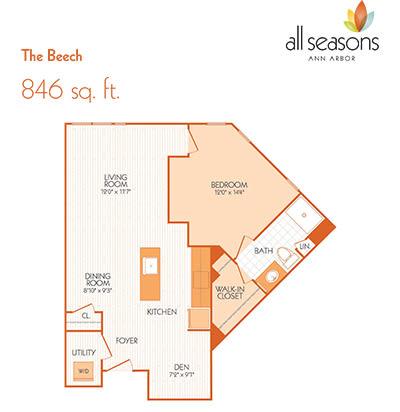 The Beech floor plan at All Seasons Ann Arbor in Ann Arbor, Michigan