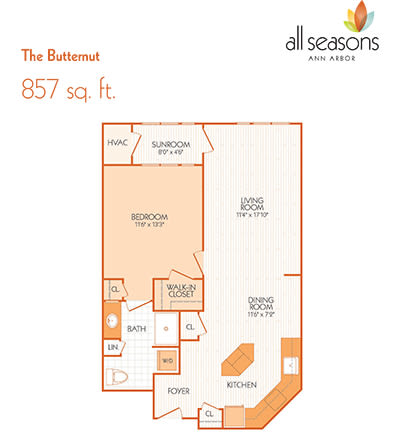 The Butternut floor plan at All Seasons Ann Arbor in Ann Arbor, Michigan