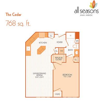 The Cedar floor plan at All Seasons Ann Arbor in Ann Arbor, Michigan