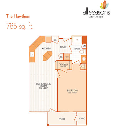 The Hawthorn floor plan at All Seasons Ann Arbor in Ann Arbor, Michigan