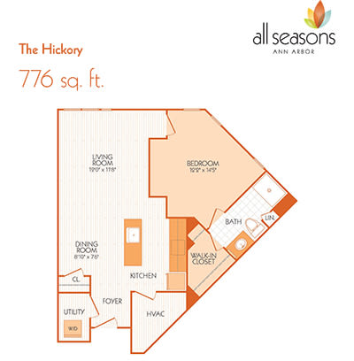 The Hickory floor plan at All Seasons Ann Arbor in Ann Arbor, Michigan
