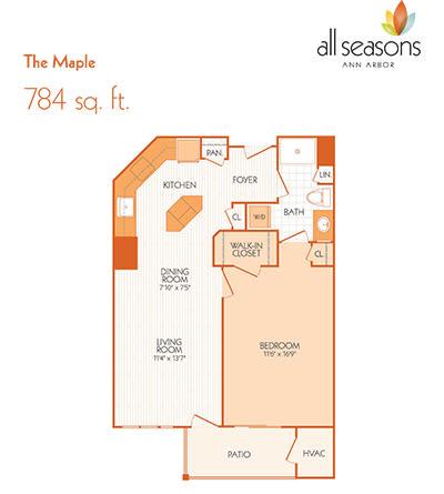 The Maple floor plan at All Seasons Ann Arbor in Ann Arbor, Michigan