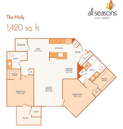 The Holly floor plan at All Seasons Ann Arbor in Ann Arbor, Michigan