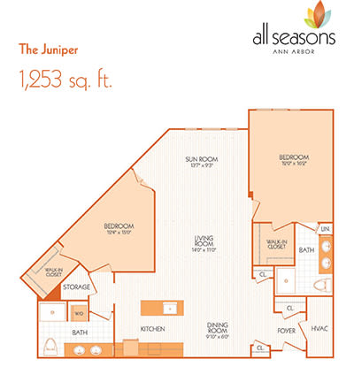 The Juniper floor plan at All Seasons Ann Arbor in Ann Arbor, Michigan