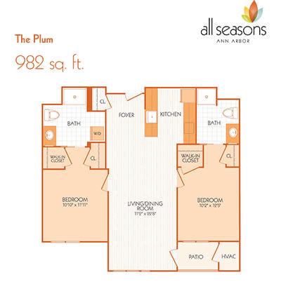 The Plum floor plan at All Seasons Ann Arbor in Ann Arbor, Michigan