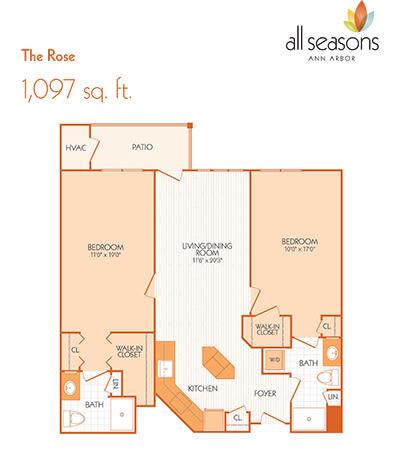 The Rose floor plan at All Seasons Ann Arbor in Ann Arbor, Michigan