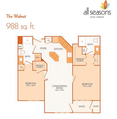 The Walnut floor plan at All Seasons Ann Arbor in Ann Arbor, Michigan
