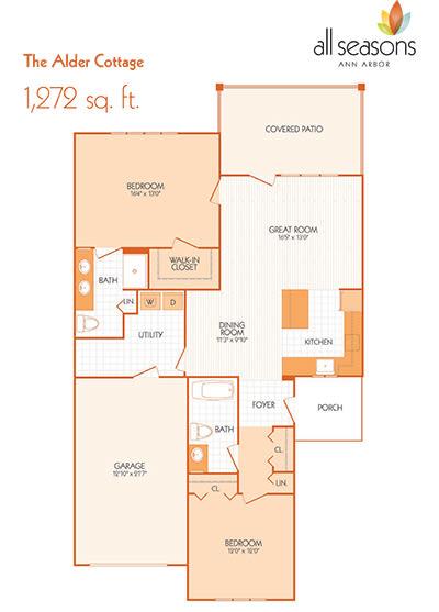 The Alder Cottage floor plan at All Seasons Ann Arbor in Ann Arbor, Michigan