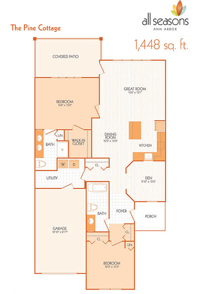 The Pine Cottage floor plan at All Seasons Ann Arbor in Ann Arbor, Michigan