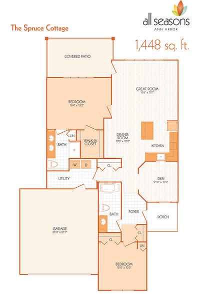 The Spruce Cottage floor plan at All Seasons Ann Arbor in Ann Arbor, Michigan