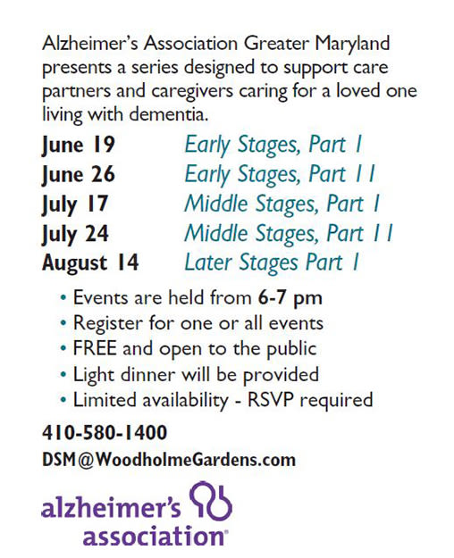 Dates and times for the event teaching about dementia at Woodholme Gardens in Pikesville, Maryland