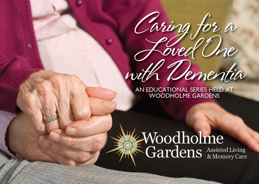 Flyer for educational series about dementia at Woodholme Gardens in Pikesville, Maryland