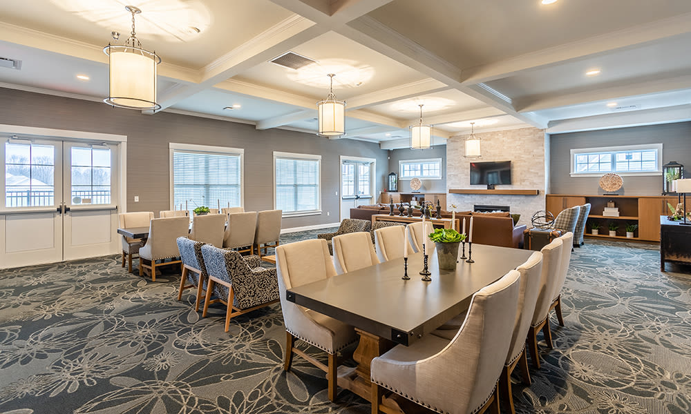 Beautiful clubhouse at Woodland Acres Townhomes in Liverpool, New York