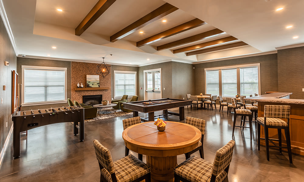 Luxury clubhouse at Woodland Acres Townhomes in Liverpool, New York