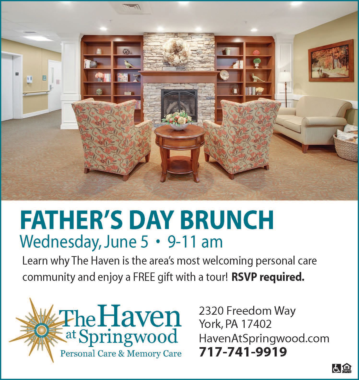 Fathers day brunch at The Haven at Springwood in York, Pennsylvania