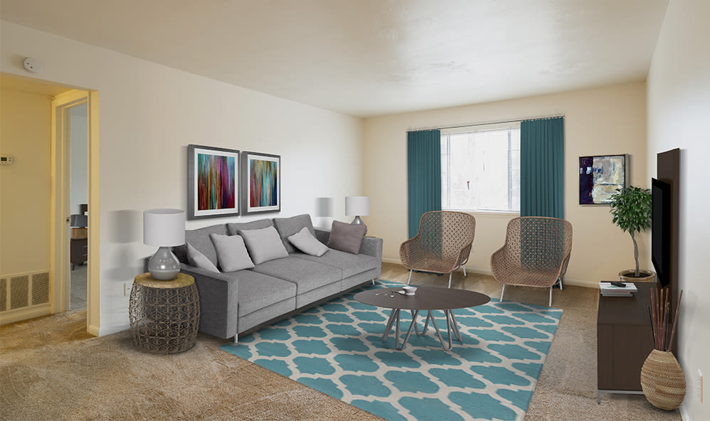 Imperial North Apartments offers a cozy living room in Rochester, NY