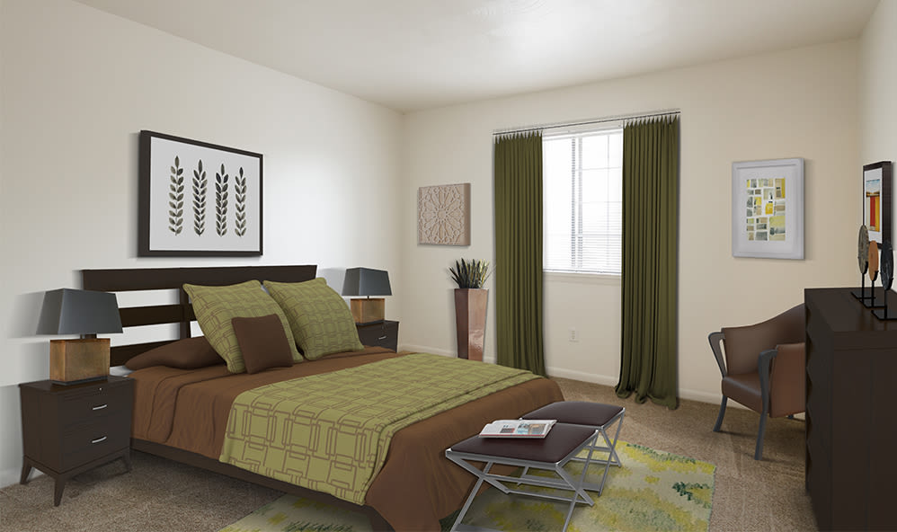 Luxury bedroom at Imperial North Apartments home in Rochester, New York