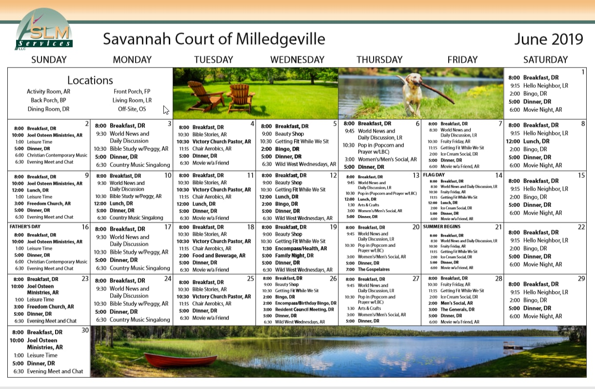 View our monthly calendar of events at Savannah Court of Milledgeville
