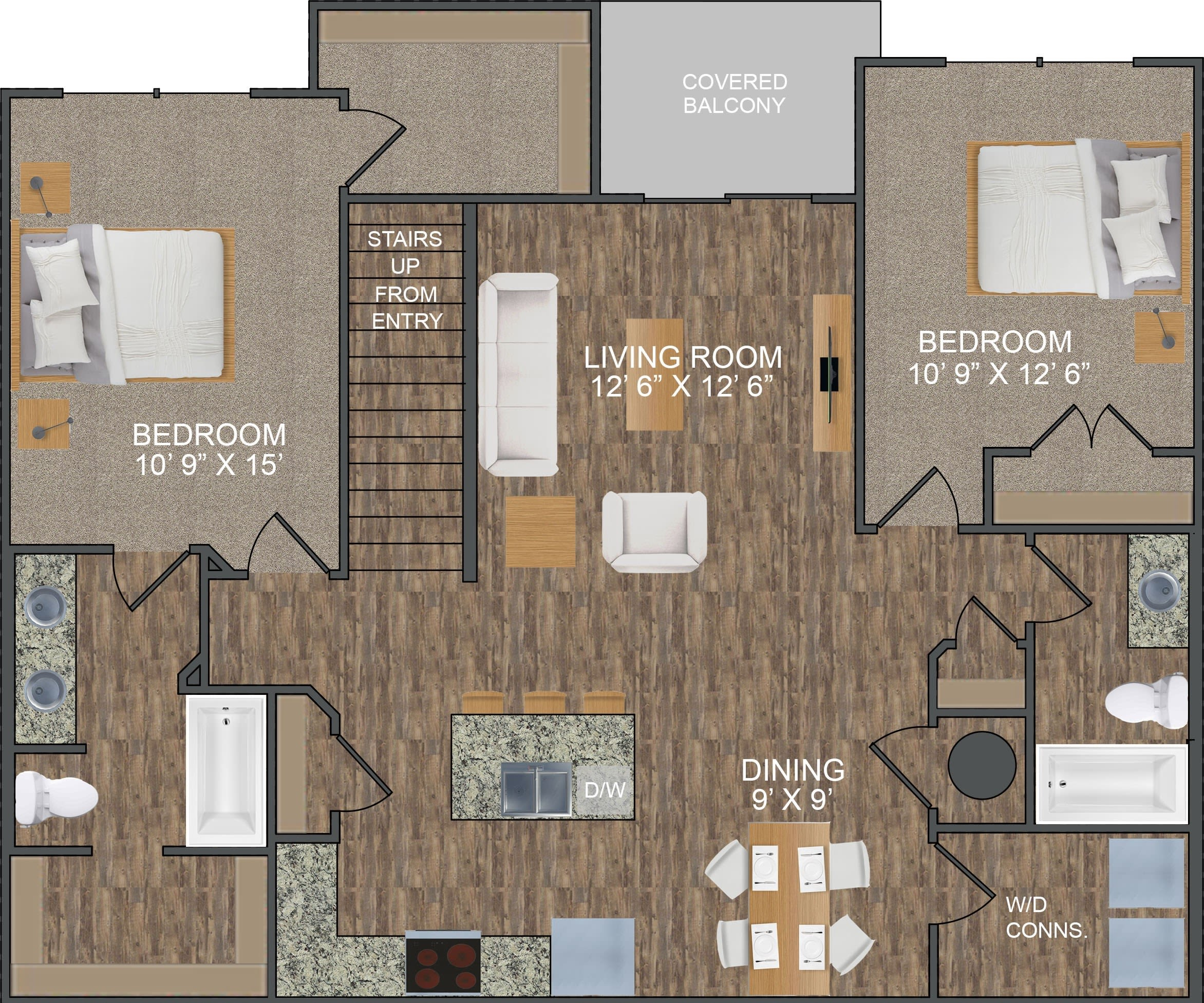 Loden II floor plan at Callio Properties in Chattanooga, Tennessee