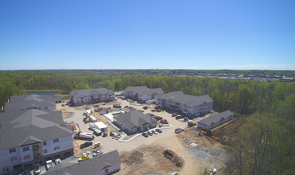 Aerial view of the apartment homes at Winding Creek Apartments in Webster, New York
