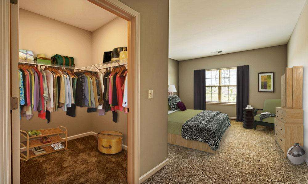 Closet in bedroom at Reserve at Southpointe