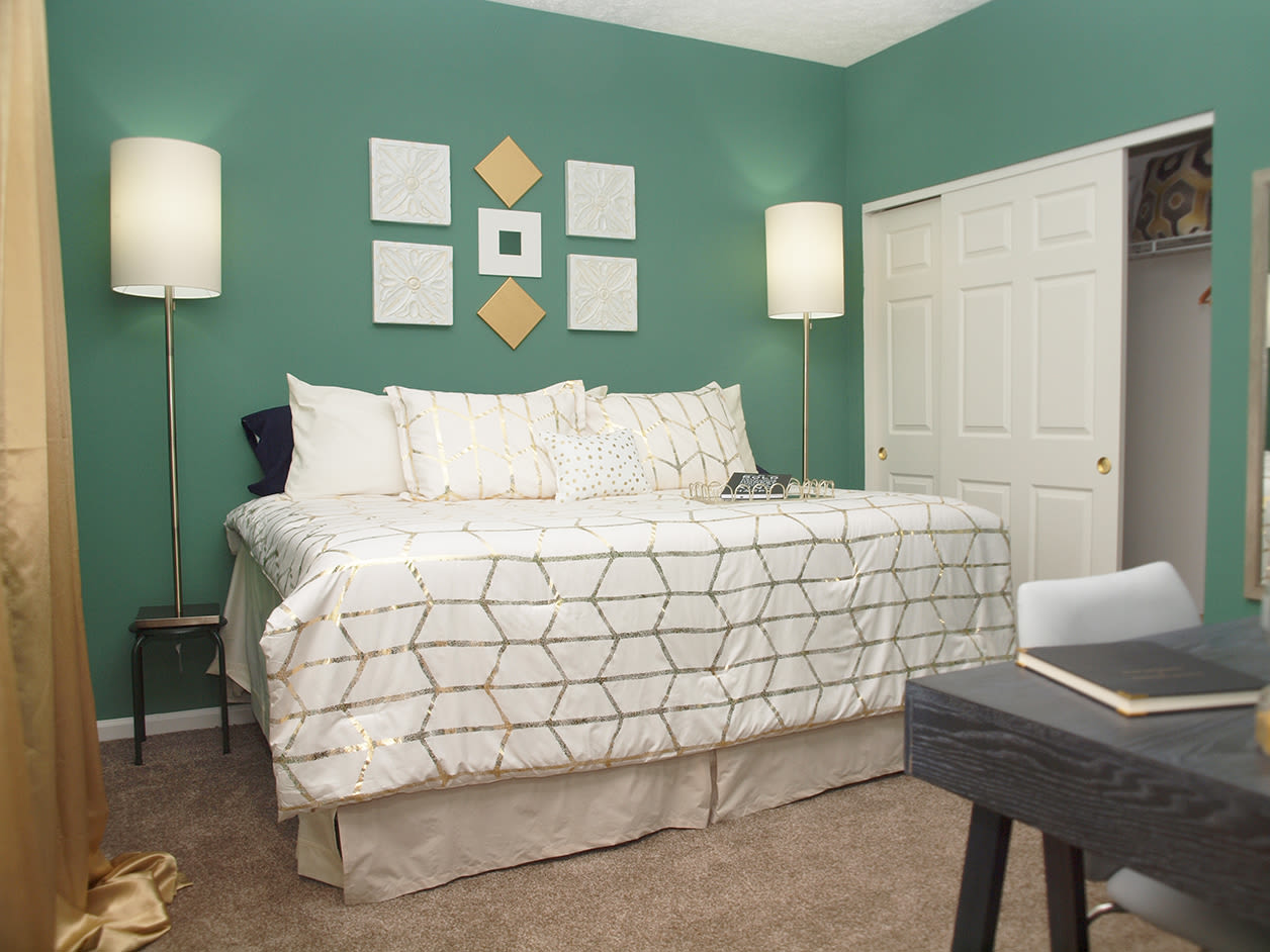 Comfortable bedroom at Emerald Lakes in Greenwood, Indiana