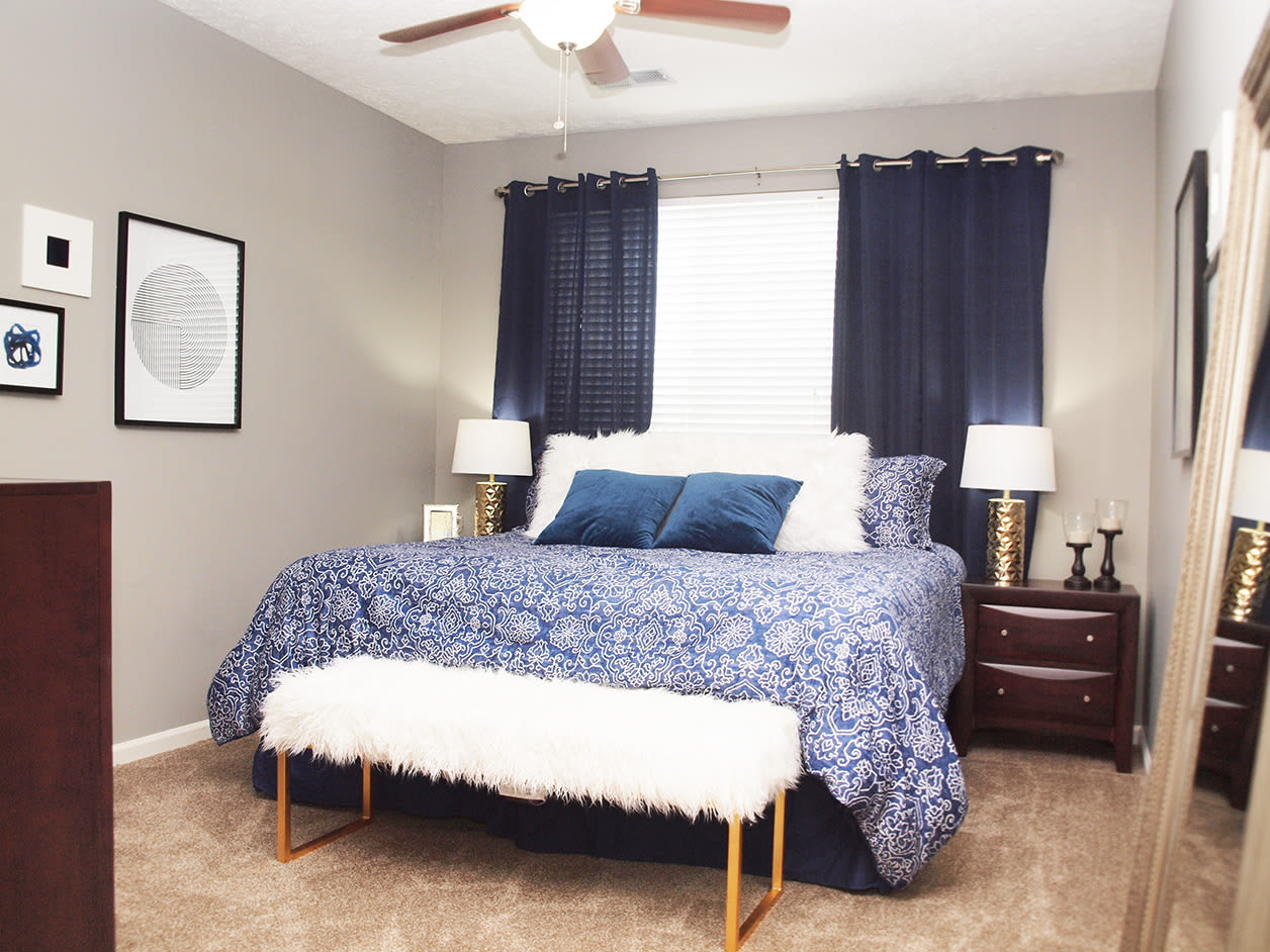 Bedroom with large window for lots of natural light at Emerald Lakes in Greenwood, Indiana