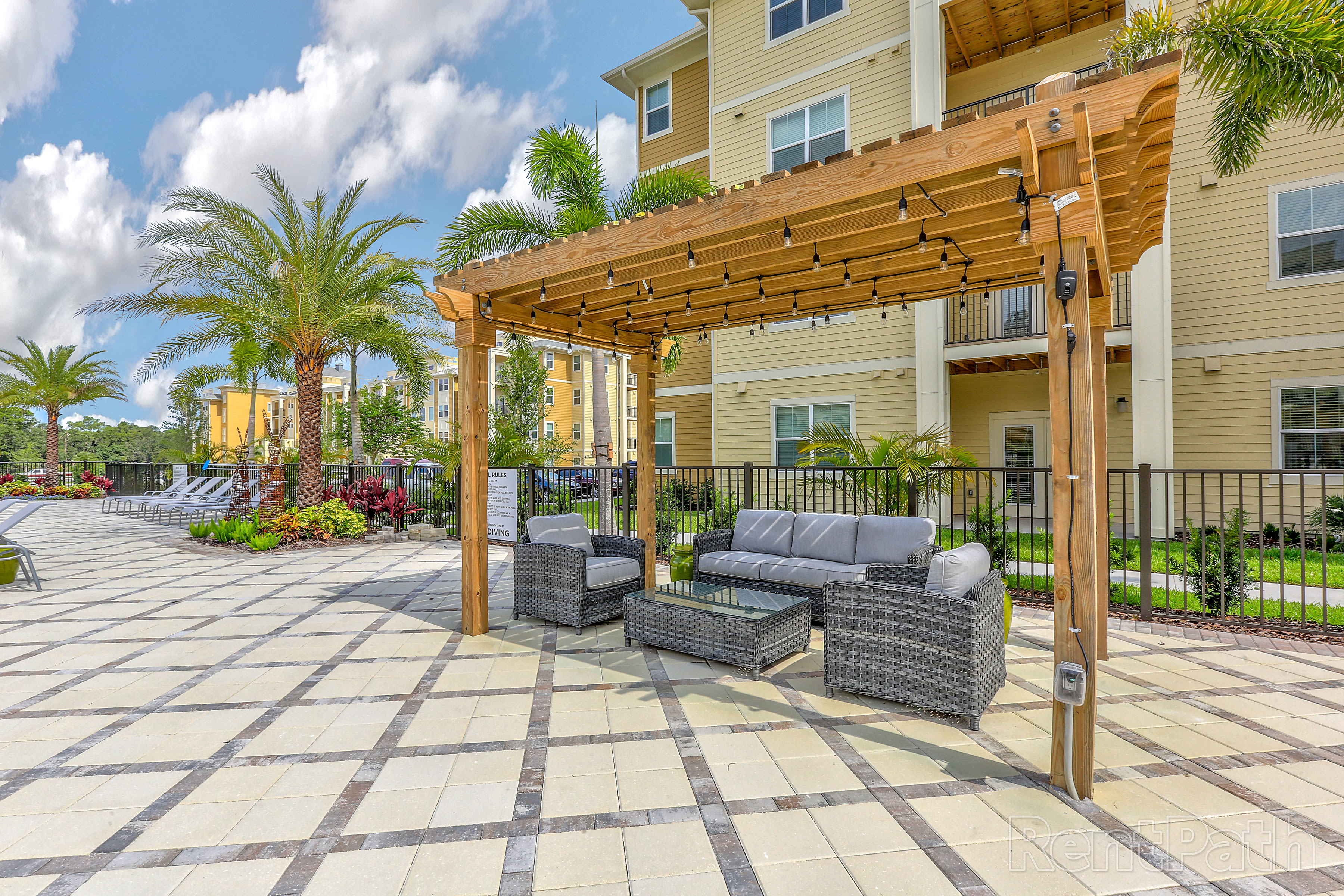 Outdoor sitting area at Lola Apartments in Riverview, FL