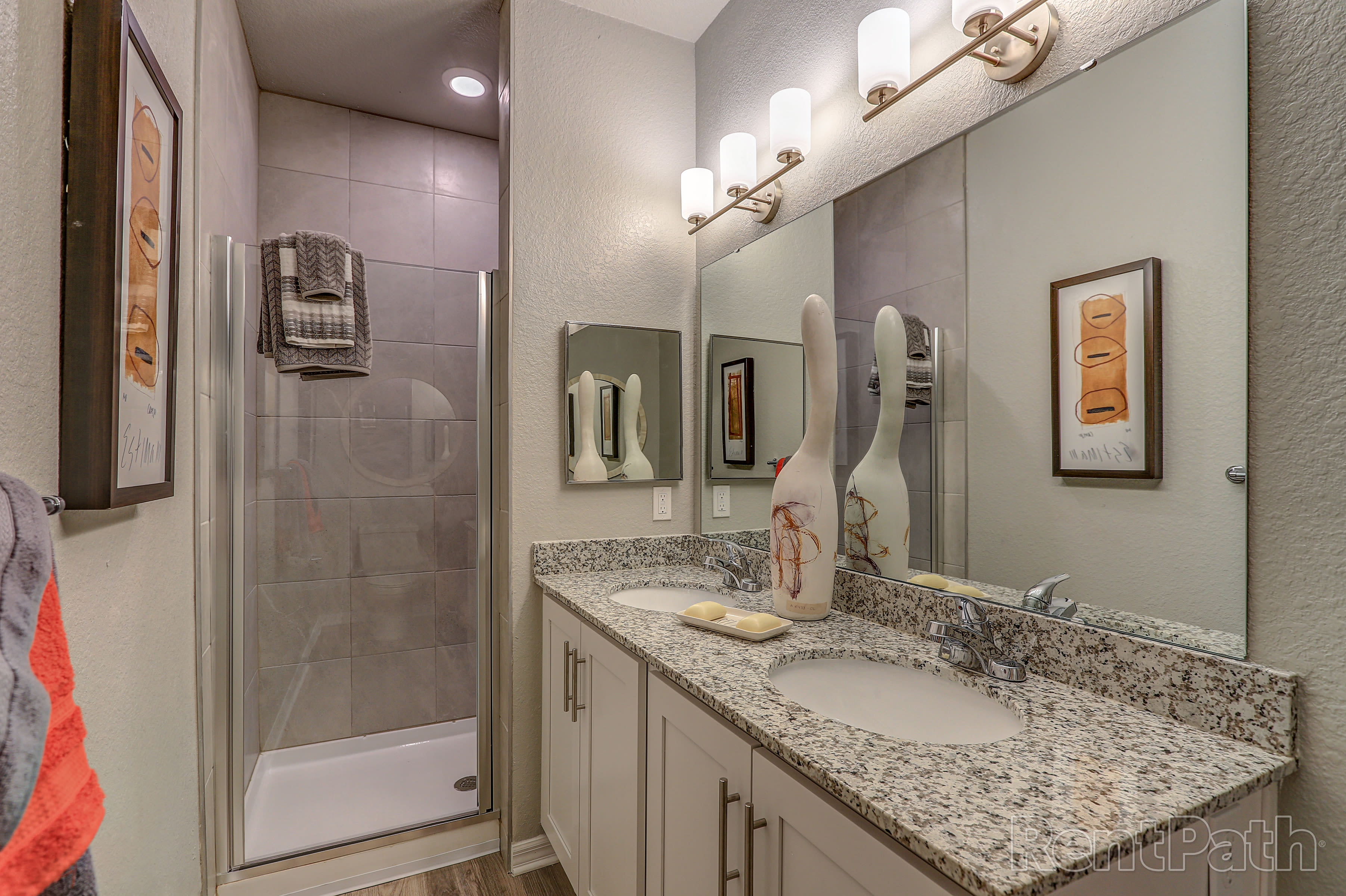 Modern bathroom at Lola Apartments in Riverview, FL