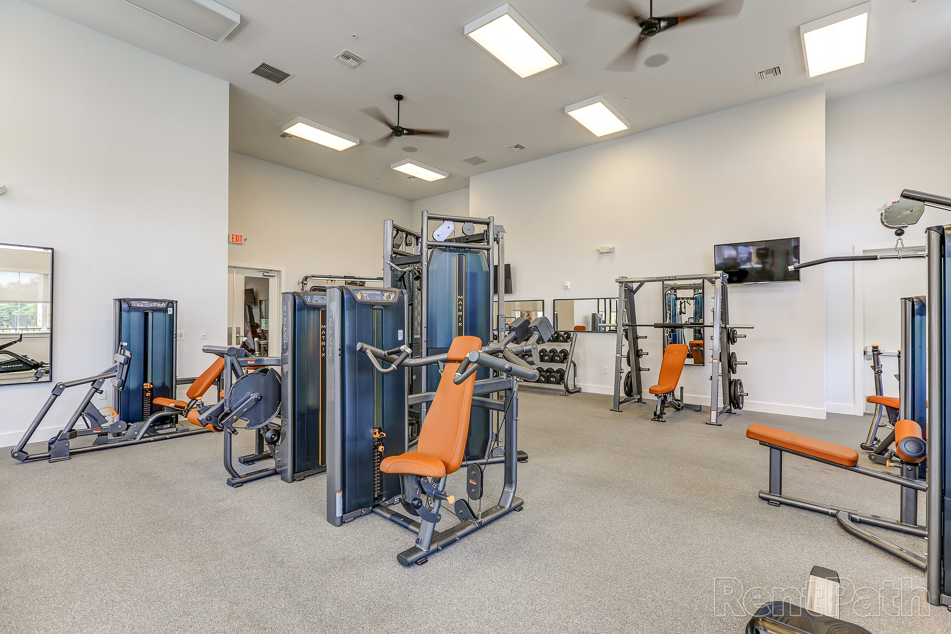 Weight room at Lola Apartments in Riverview, FL