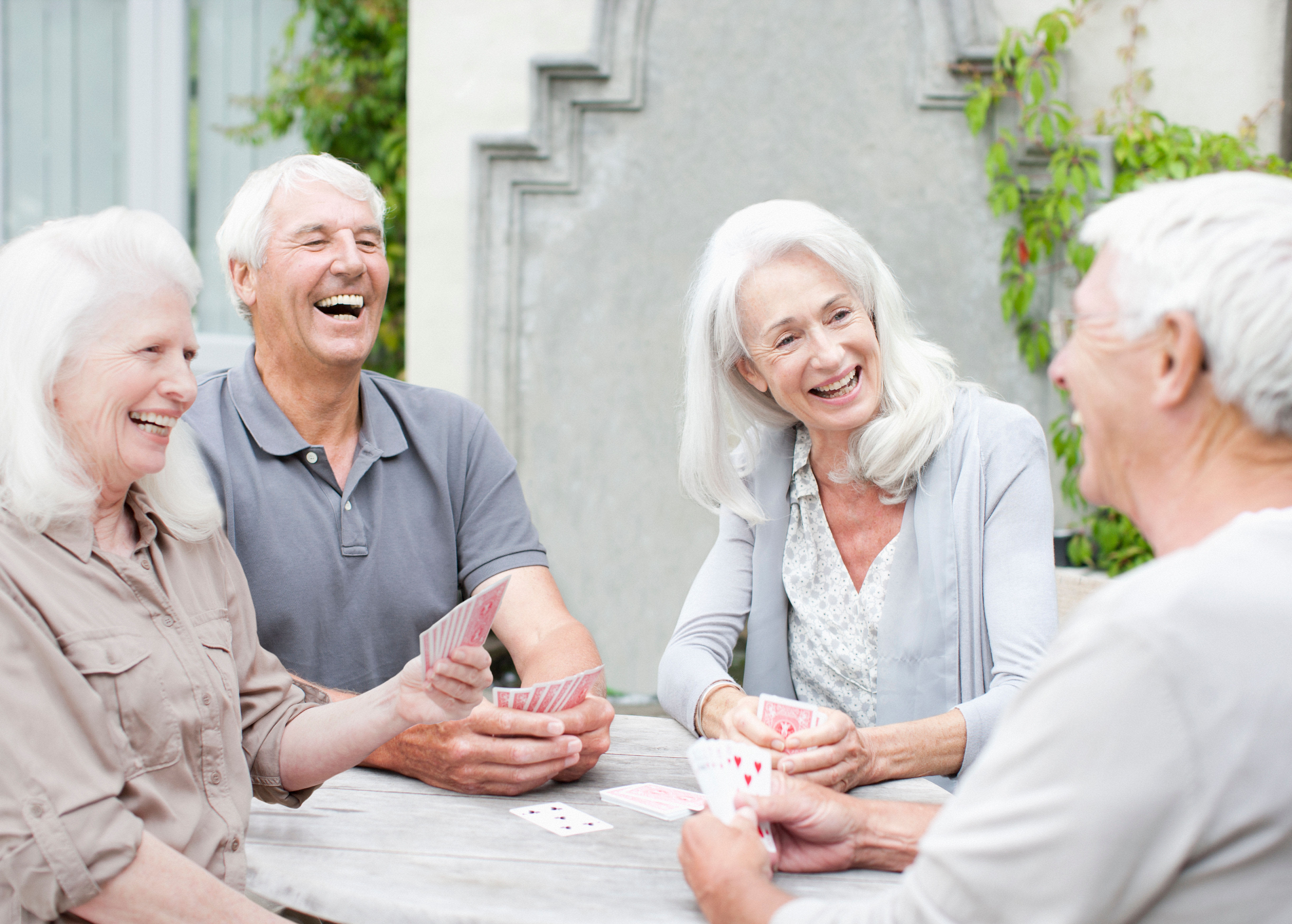 Residents laughing at GreenTree At Westwood in Columbus, Indiana
