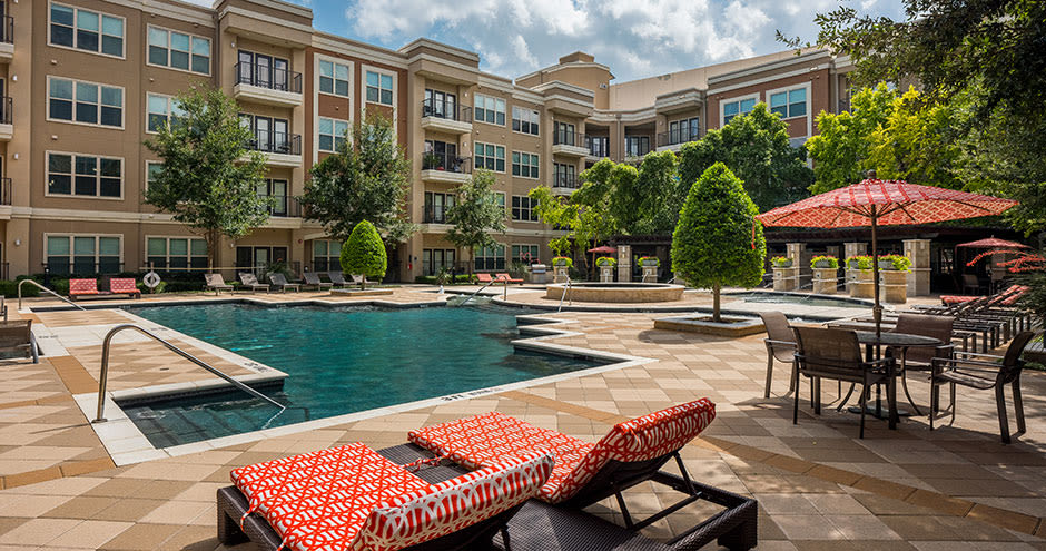 Beautiful swimming pool area at Addison Keller Springs