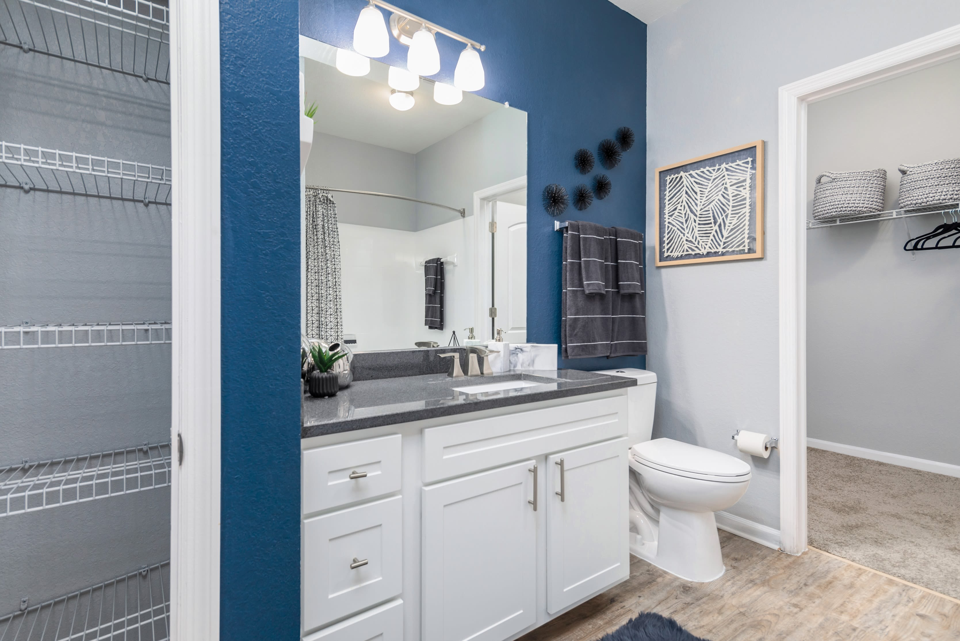 Apartment bathroom at Luxe at 1820 in Tampa, Florida