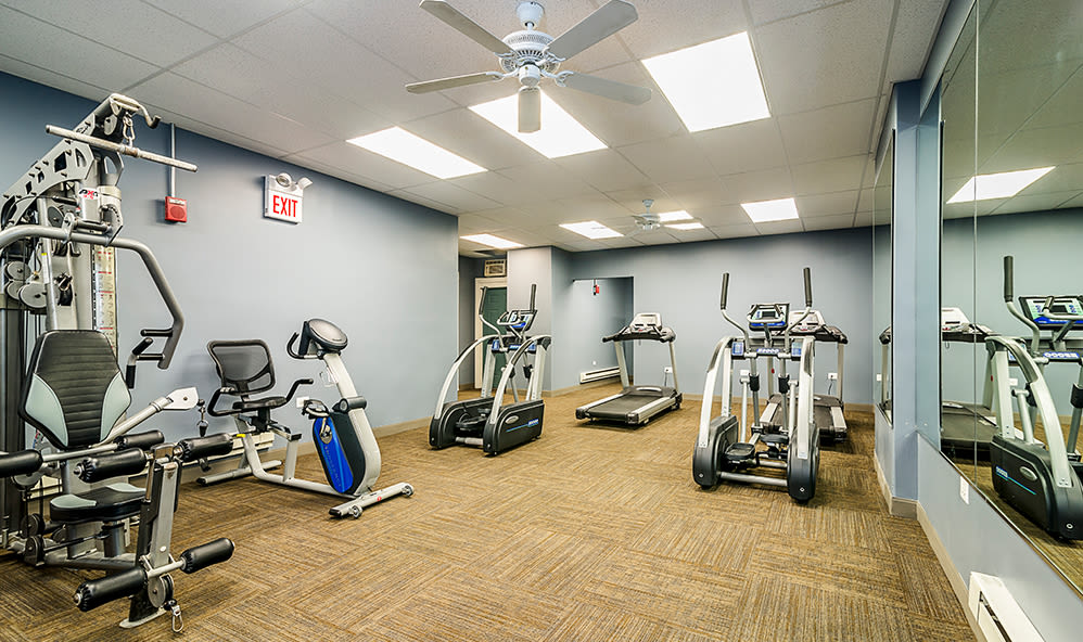 Exercise equipment at 7100 South Shore Apartment Homes in Chicago, Illinois