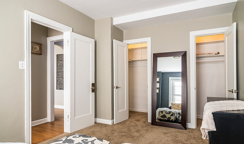 Closets in bedroom at 7100 South Shore Apartment Homes in Chicago, Illinois