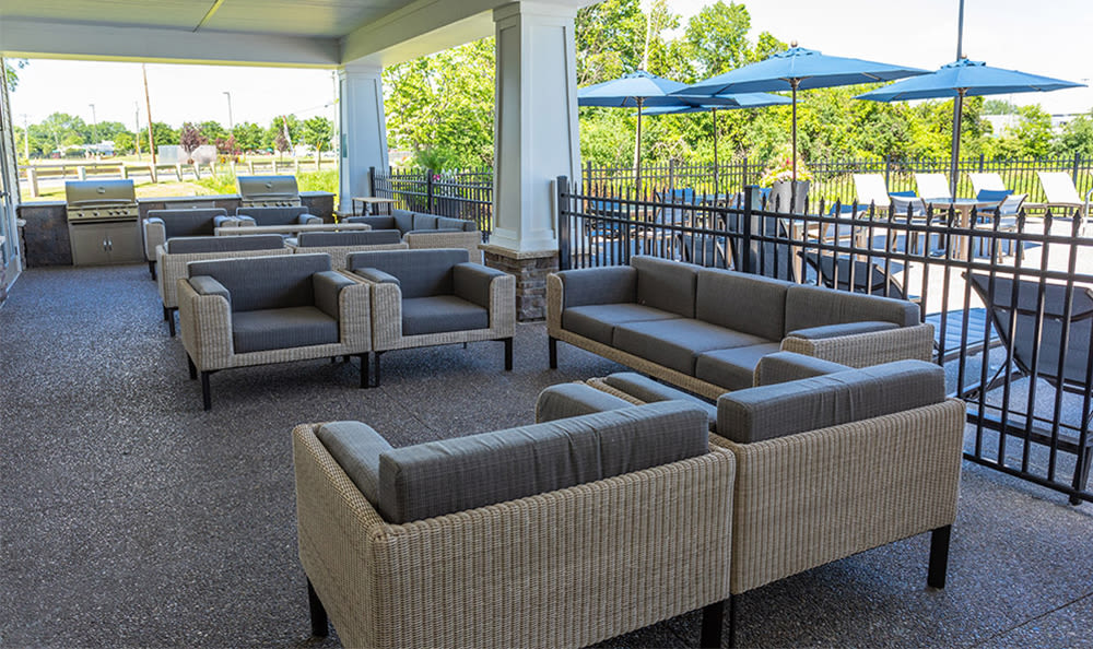 Fairview at Town Center Apartment Homes offers an relaxing patio in Rochester, New York