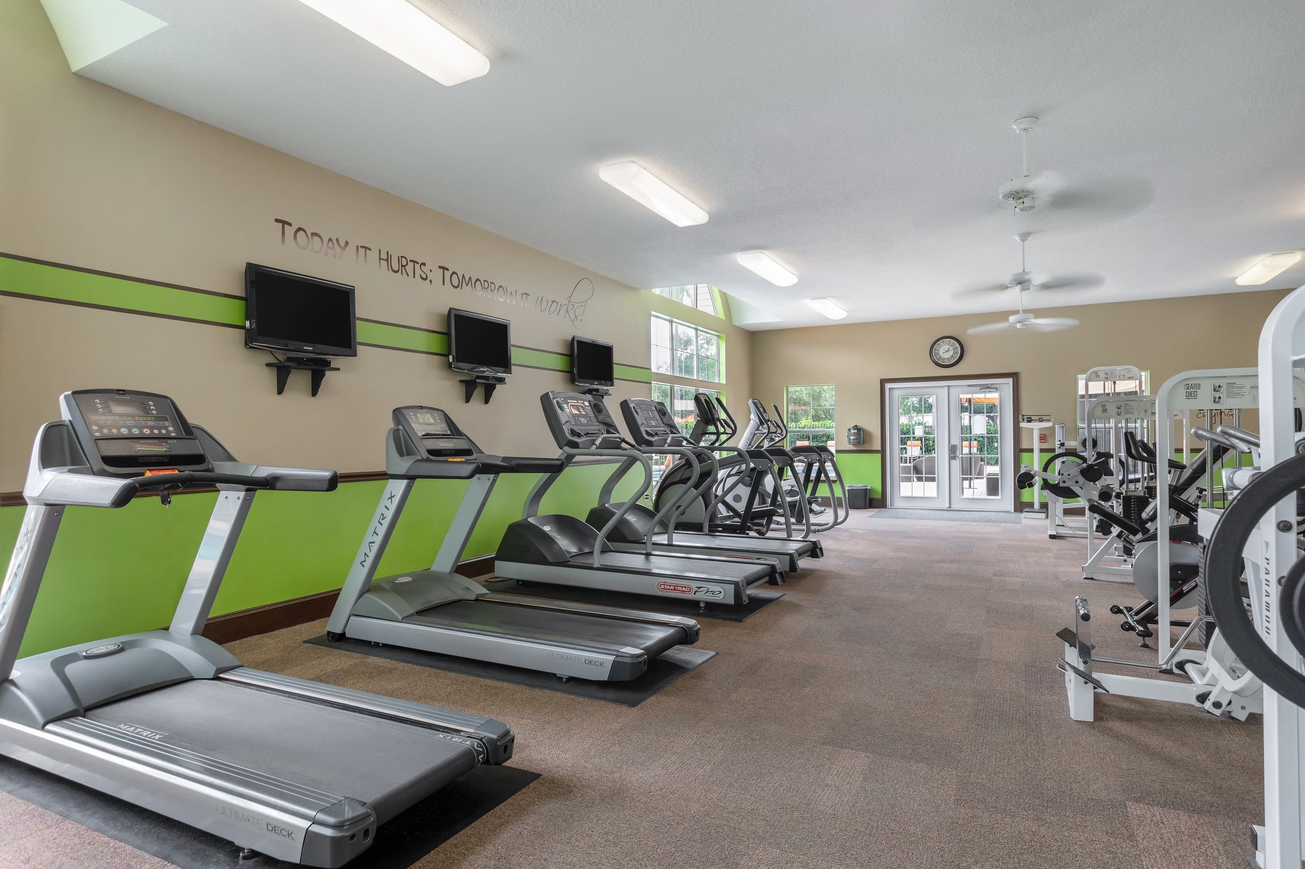 Spacious gym with a weigh set at Amira at Westly in Tampa, Florida
