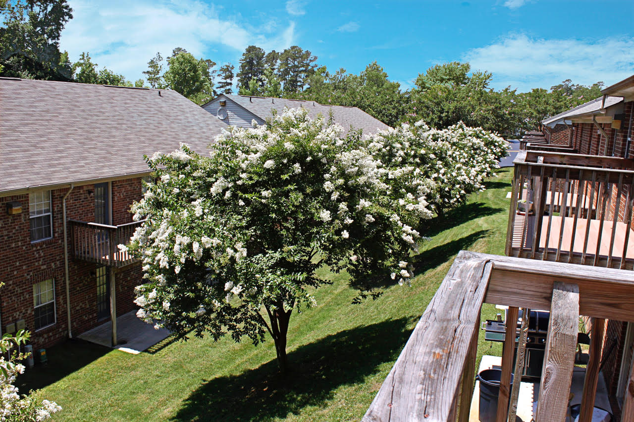 private decks and patios at Meadowridge Apartments in Franklin, VA